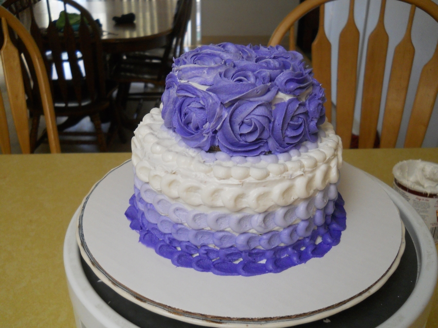 Ombre And Rose Cake  on Cake Central