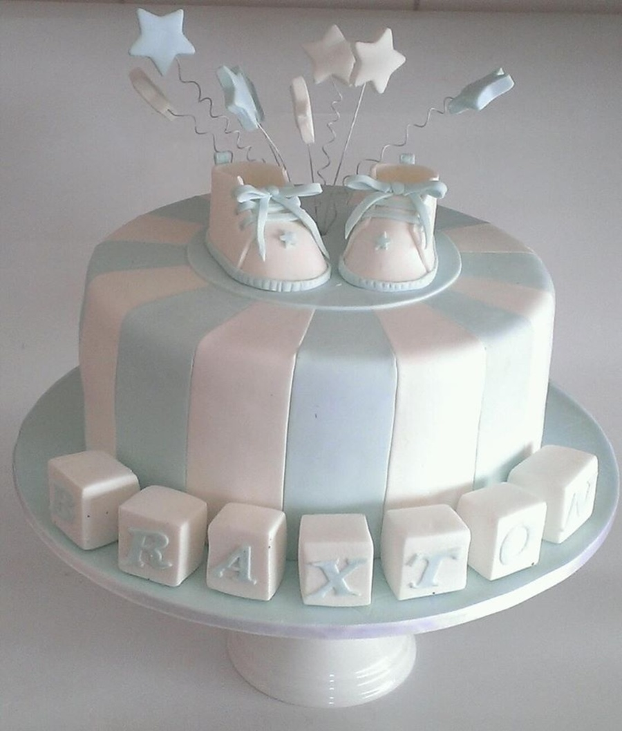 Blue Baby Shower Cake on Cake Central