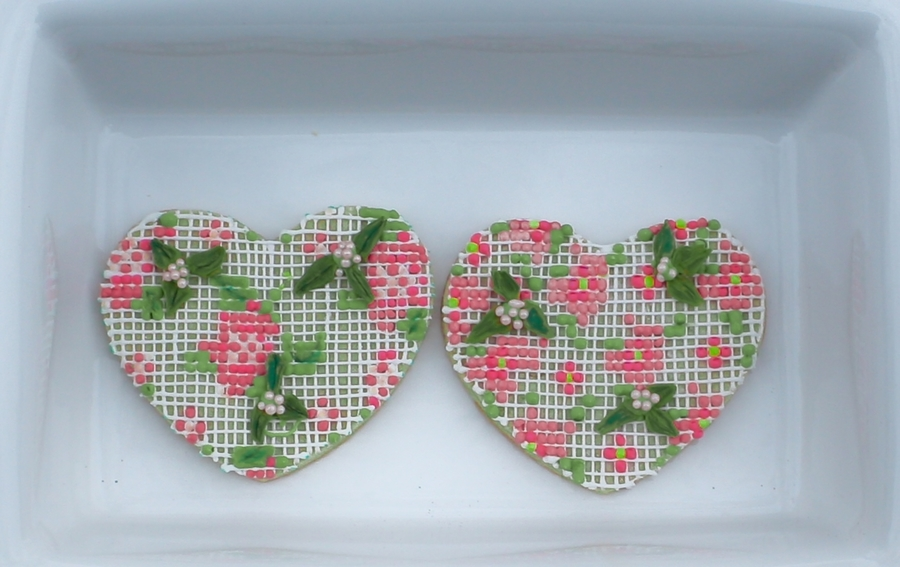 Cross Stitch Hearts Royal Icing Cookie on Cake Central