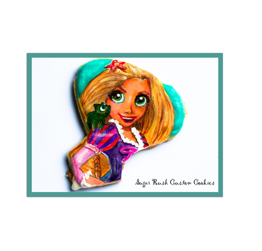 Tangled Rapunzel Royal Icing Painted Cookie on Cake Central