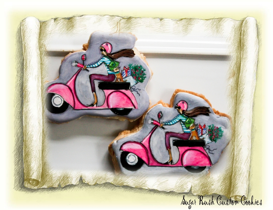 Vespa Royal Icing Painted Cookies on Cake Central