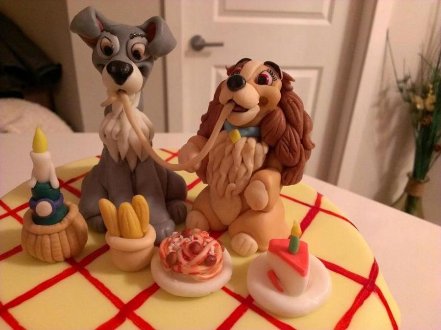 All Fondant Lady Amp The Tramp Cake Toppers With Fondant Spaghetti Bread Candle And Birthday Cake on Cake Central
