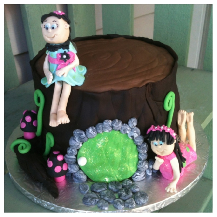 Fairies On A Tree Stump  on Cake Central