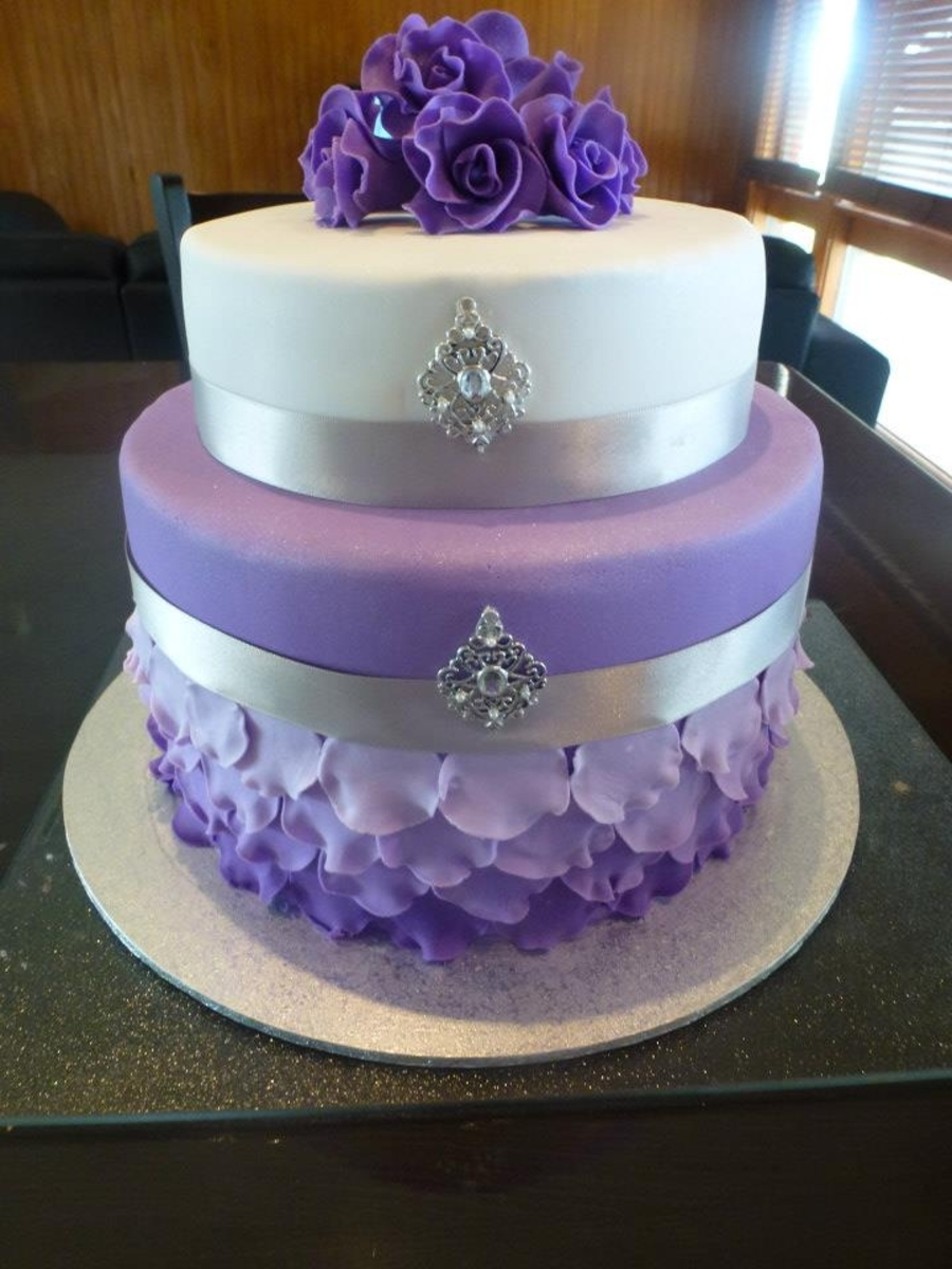 Purple And White Rose Wedding Cake - CakeCentral.com