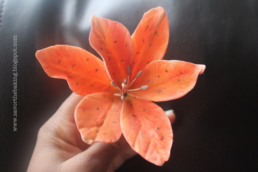 My Version Of The Tiger Lilly This Flower Started Out As White Gumpaste And I Dusted It With Red And Orange Color Dust I Hope That You Al on Cake Central