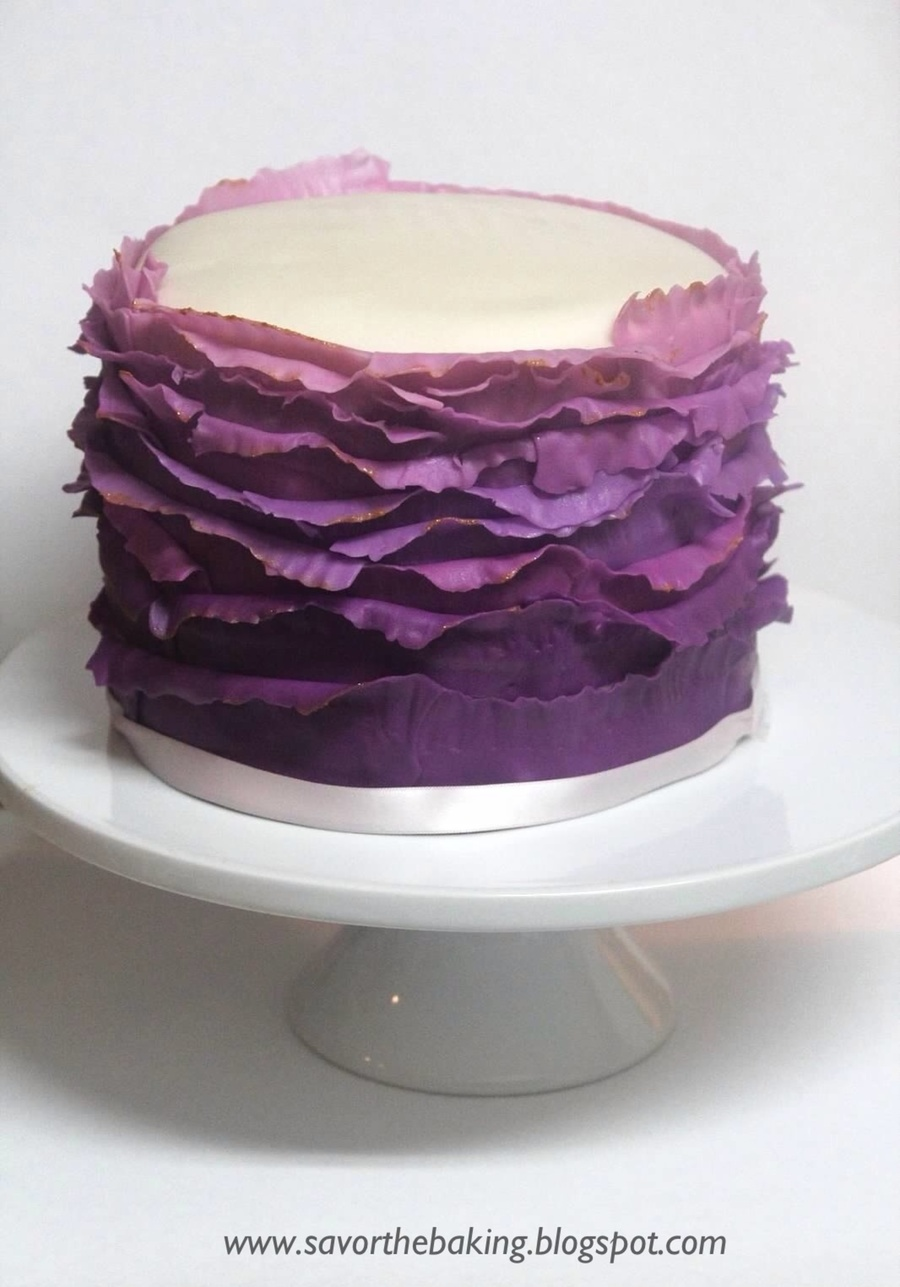 Purple Ombre Frill Cake With Gold Highlights  on Cake Central
