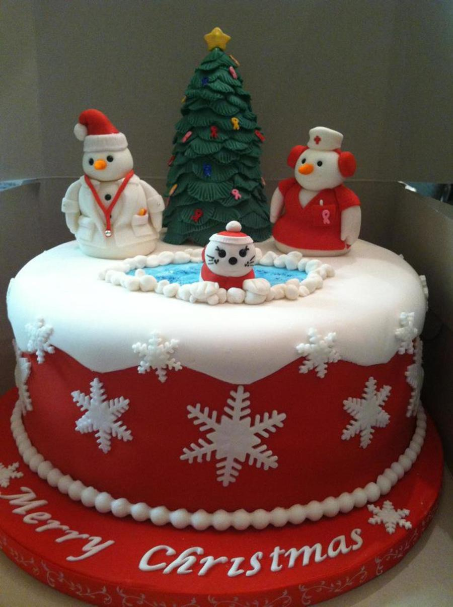 Merry Christmas!! Cancer Awareness Doctor & Nurse Theme Cake  on Cake Central