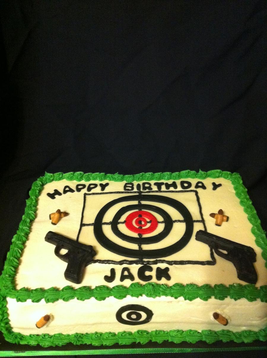 Swell Hand Gun Target Cake Cakecentral Com Personalised Birthday Cards Veneteletsinfo