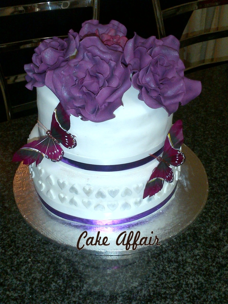 Purple Butterflies And Hand Made Roses on Cake Central