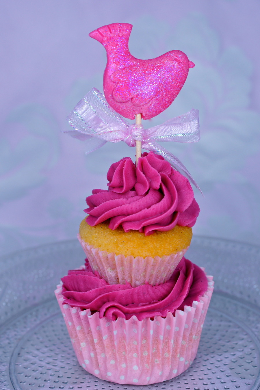 Fuchsia Lovebird Cupcake on Cake Central