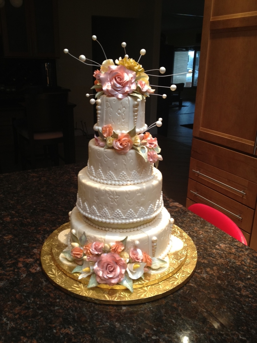 Ivory Wedding Cake With Gumpaste Flowers On Central