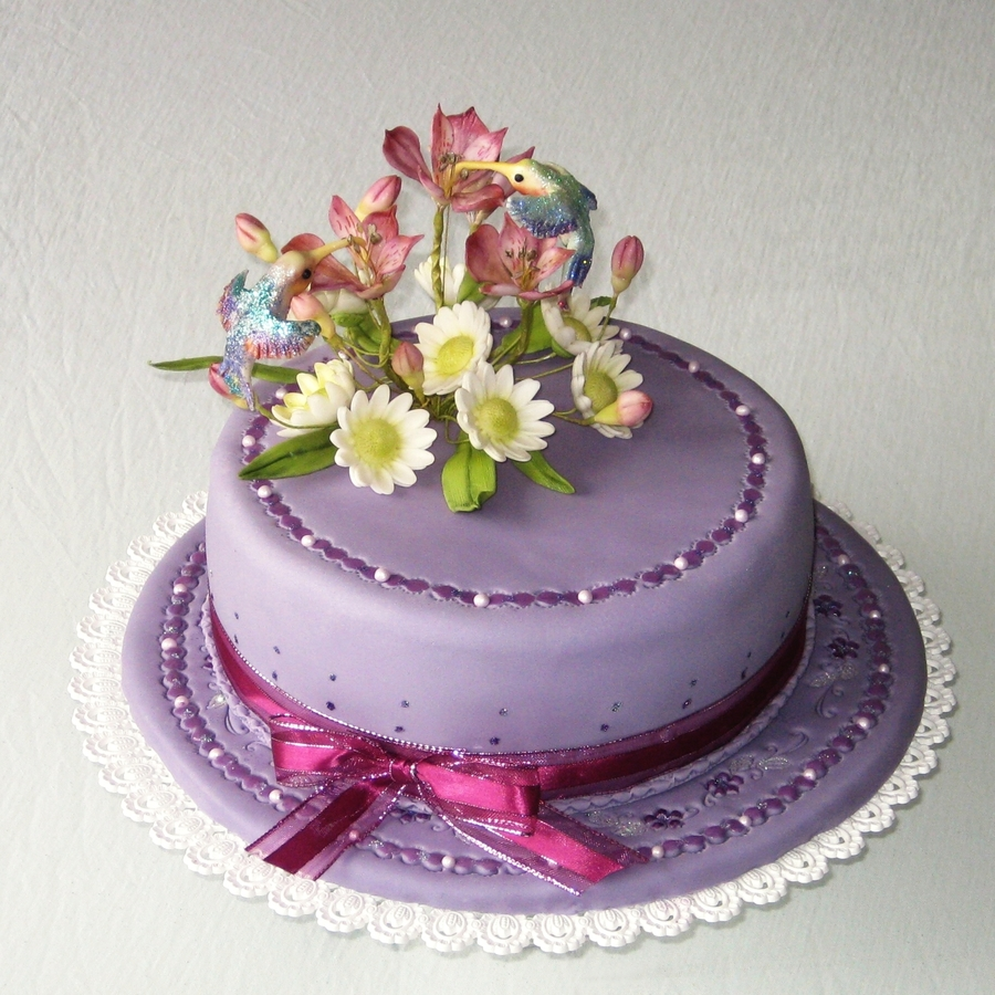 Awe Inspiring Hummingbirds On Flowers Cakecentral Com Funny Birthday Cards Online Necthendildamsfinfo
