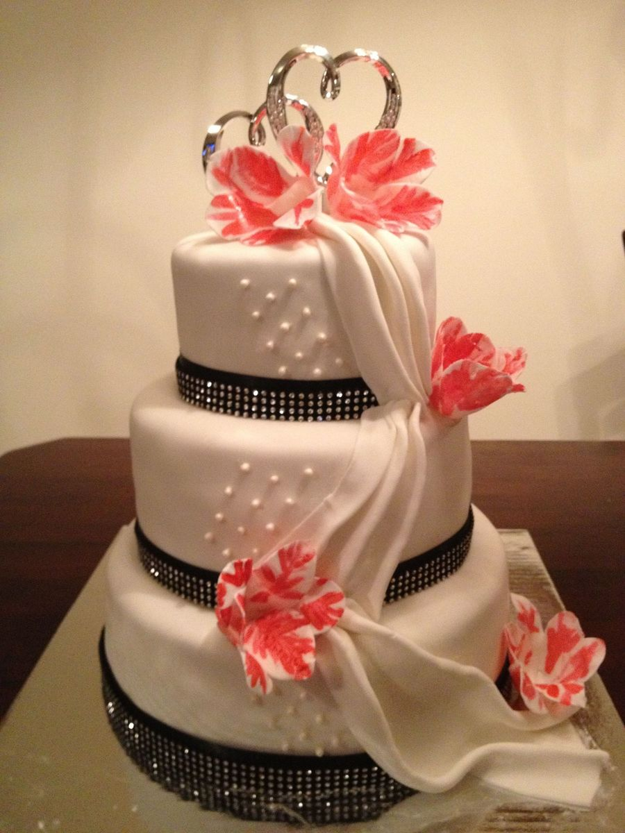 Fondant Draping With Pink Parrot Tulips on Cake Central