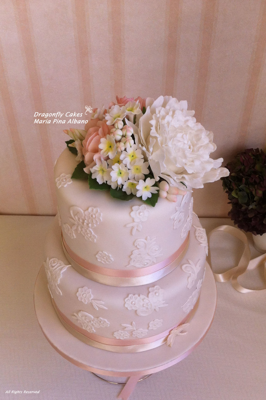 Romantic Cake With Lace And Handcrafted Sugar Flowers on Cake Central