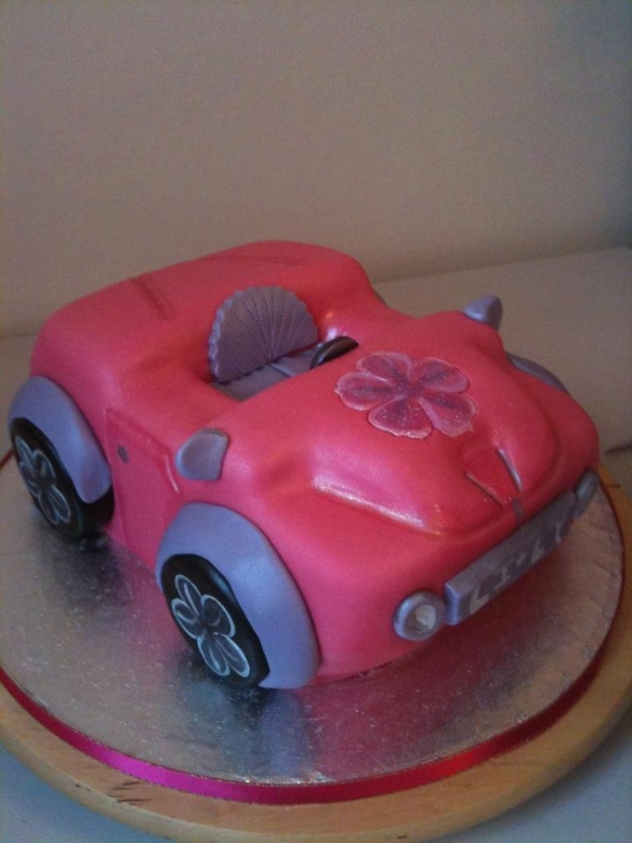 A Girls Car Created For A Miniature Barbie Sponge Buttercream And Fondant on Cake Central