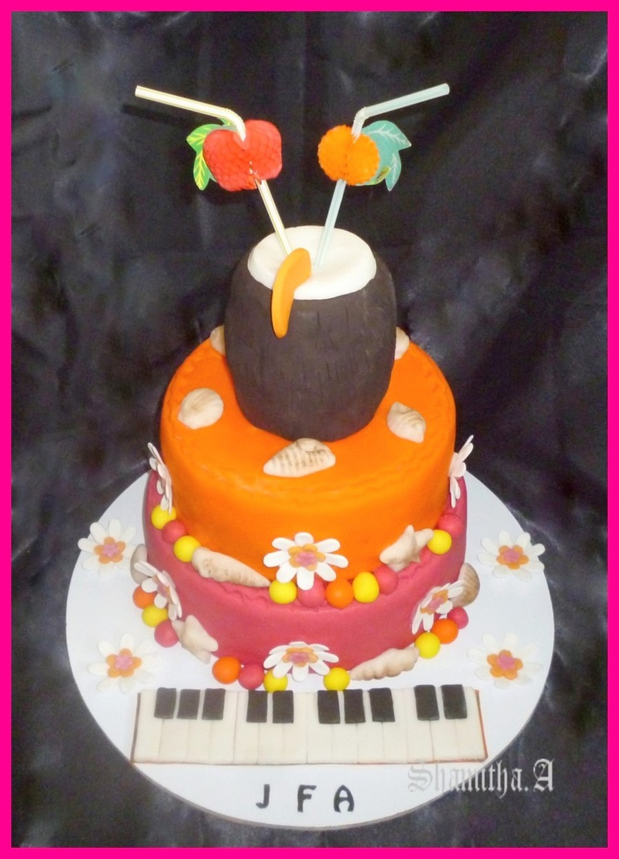 Tropical Themed Birthday Cake For A Musician on Cake Central