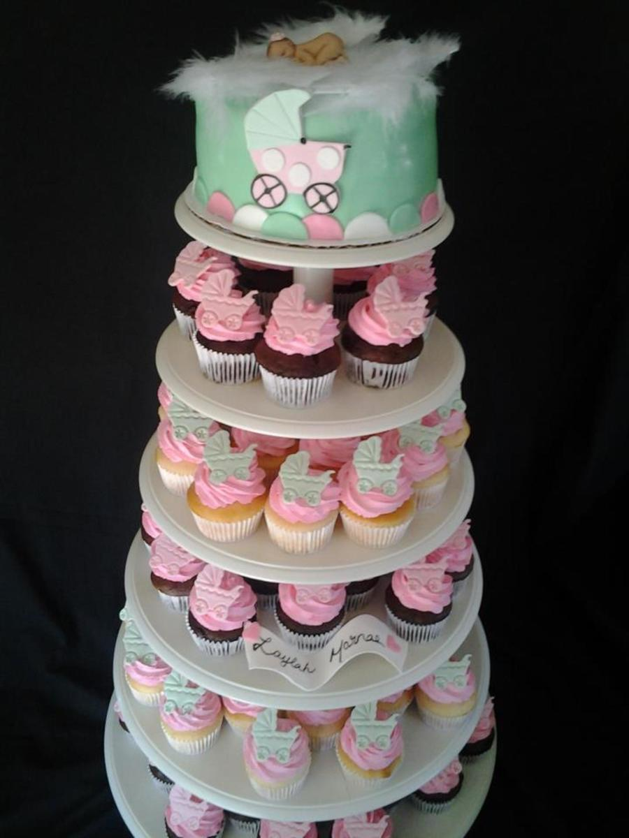 its a girl pink and green baby buggy baby shower cake and cupcakes. Black Bedroom Furniture Sets. Home Design Ideas