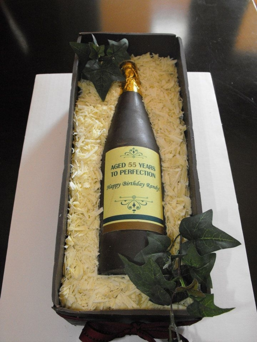 Chocolate Wine Bottle & Crate Cake on Cake Central