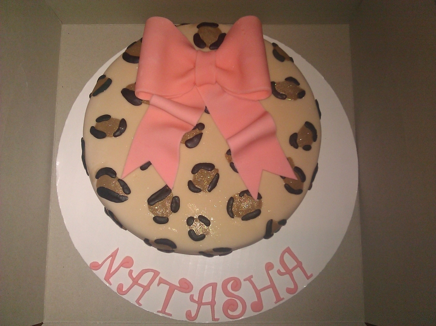 Cheetah Print W/ Pink Bow on Cake Central