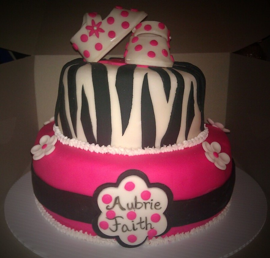Hot Pink & Zebra Baby Shower Cake  on Cake Central