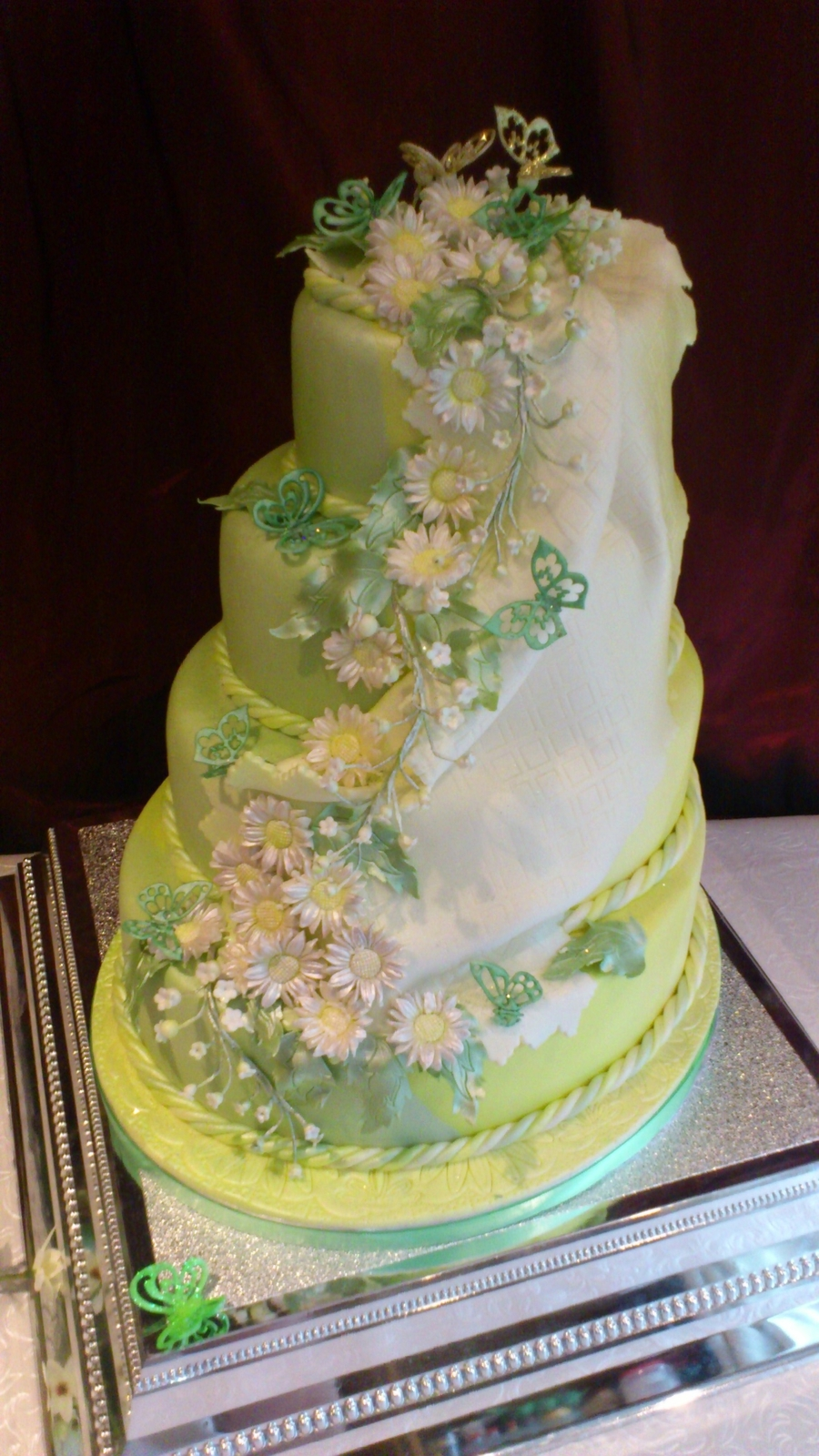 Flower Cascade Wedding Cake on Cake Central