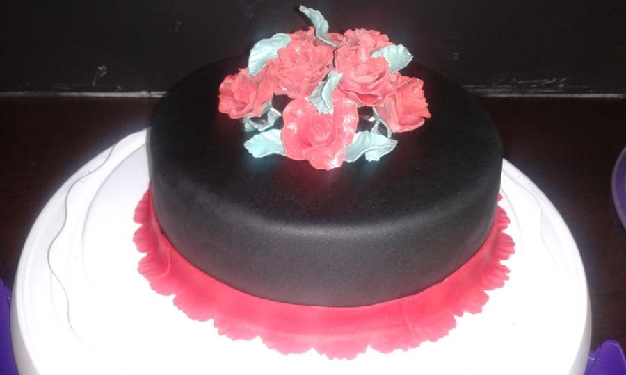 Black And Red Birthday Cake on Cake Central