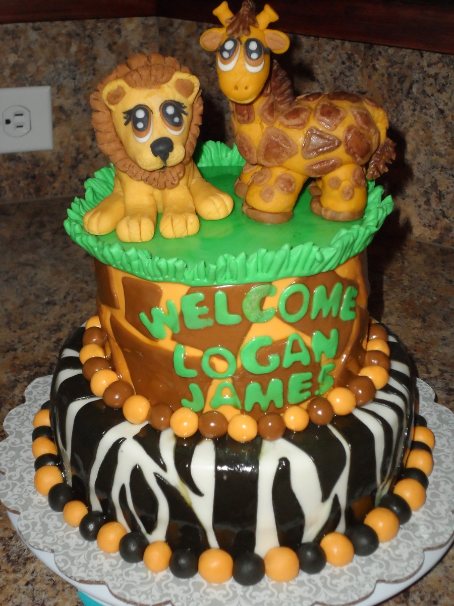 Jungle-Ish Baby Shower Cake on Cake Central