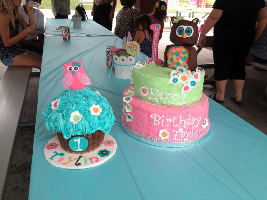 Magnificent Owl Themed 1St Birthday Cake And Smash Cake Buttercream With Gum Funny Birthday Cards Online Aeocydamsfinfo