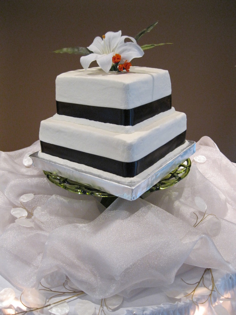 Cake Layers Were Chocolate And White Buttercream Frosting Silk Floral And Satin Ribbon Provided By The Bride on Cake Central