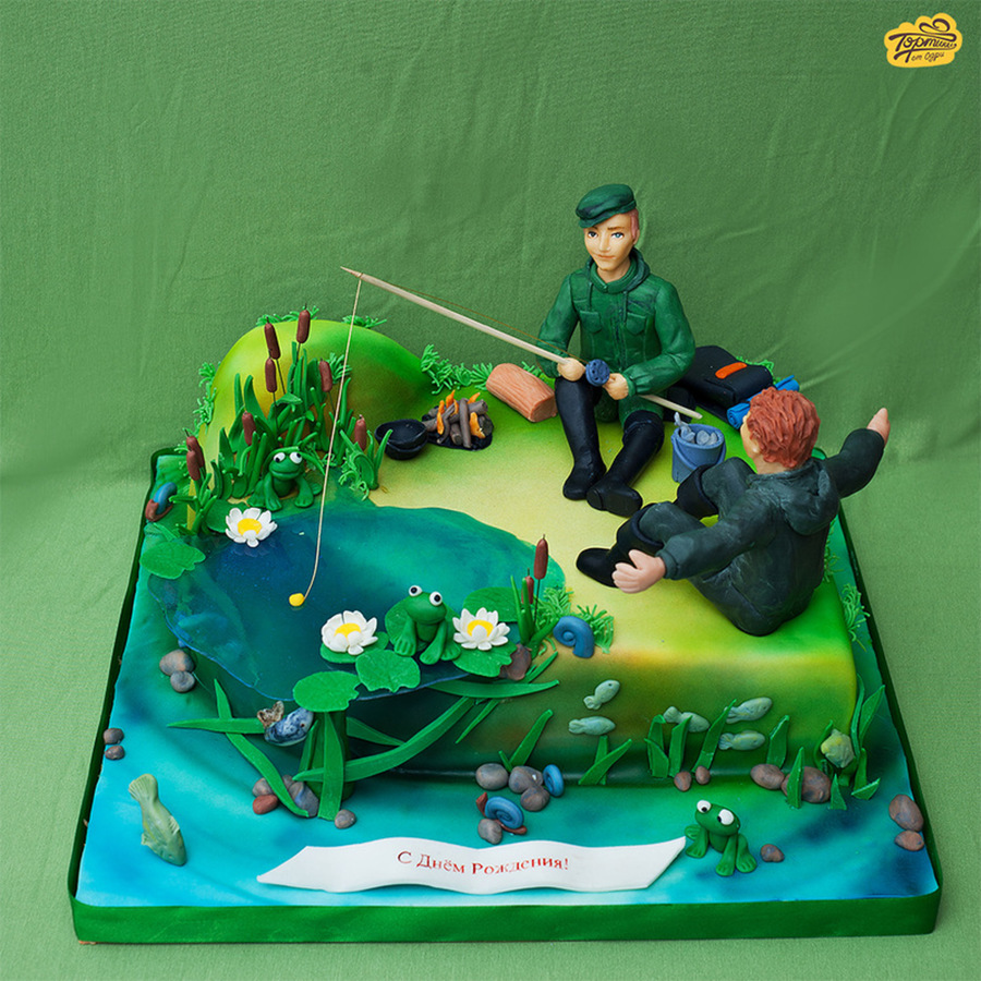 Торт для рыбака фото из мастики своими руками 42