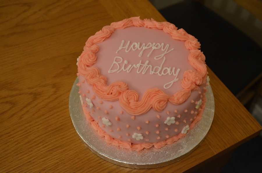 Pink Birthday Fruit Cake :) on Cake Central