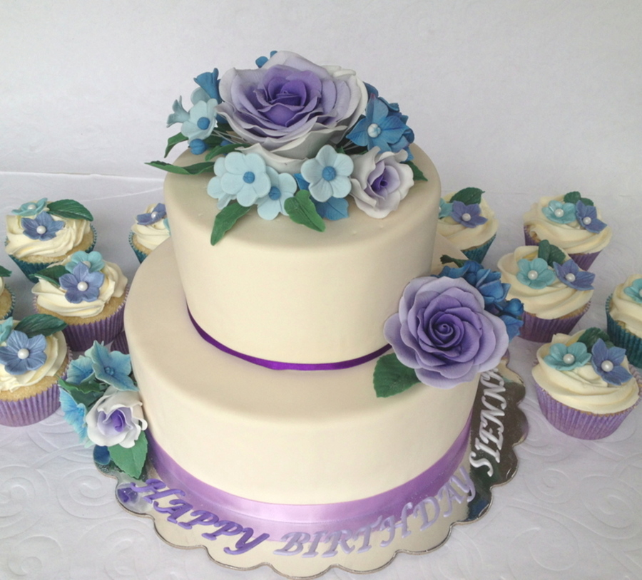 Purple Ombre Rose Cake Todays Cake Is A Birthday Cake For