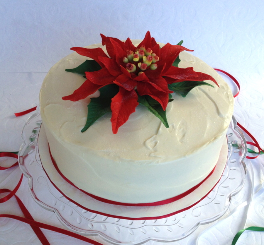 My First Attempt At A Sugar Poinsettia Happy With The Result  on Cake Central
