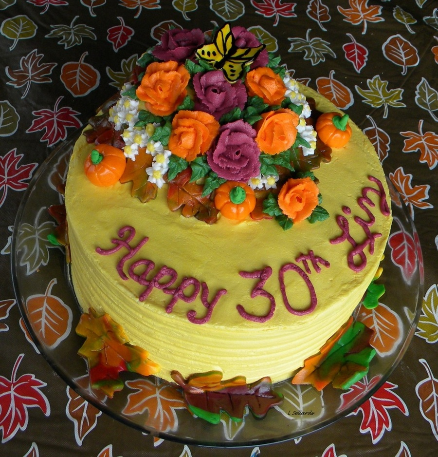 Double Layer Buttercream Frosting Amp Roses Rolled Buttercream Fondant Leaves Amp Pumpkins Butterfly Is Hand Painted Gum Paste on Cake Central