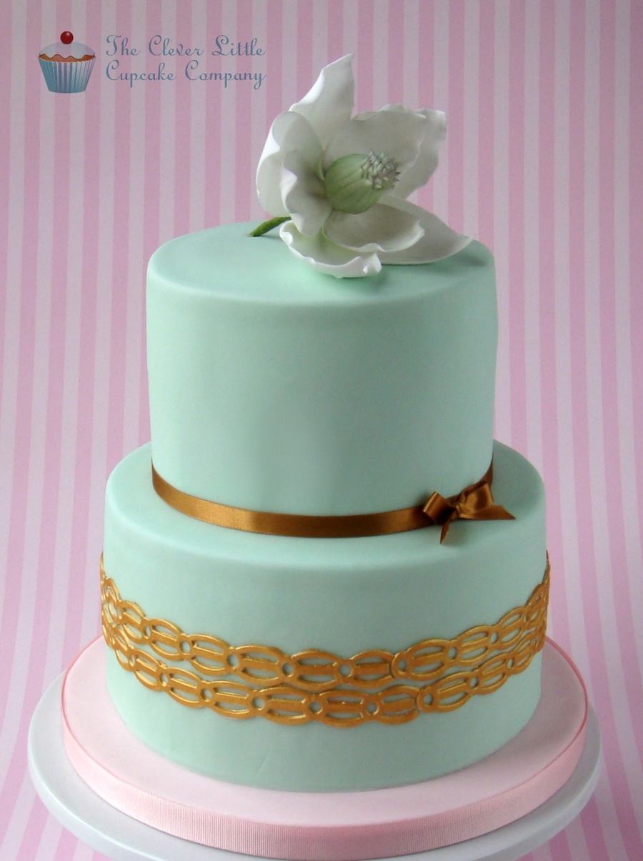 Mint Green And Magnolia Wedding Cake on Cake Central