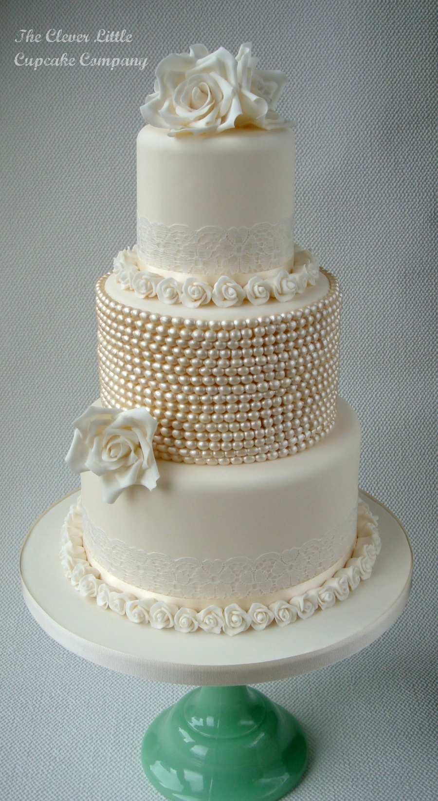 Vintage Lace And Pearl Wedding Cake - CakeCentral.com