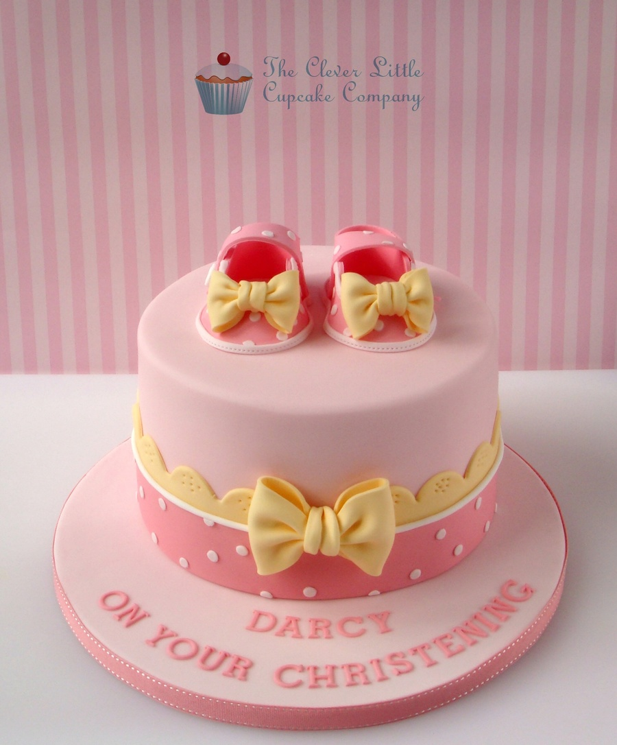 Baby Shoes Christening Cake - CakeCentral.com