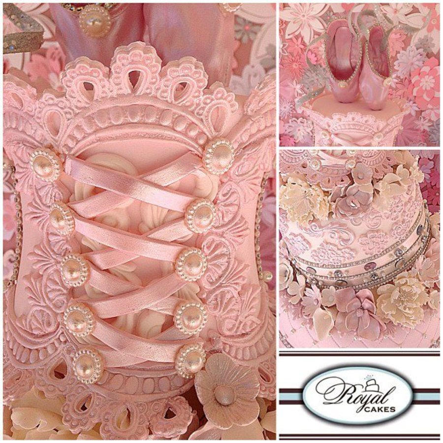 Sweet Ballerina Pastel Pink Whimsical Cake Featuring Lace Pearls Sugar Flowers A Stunning Corset Amp Topped Of With Ballerina Slippers  on Cake Central