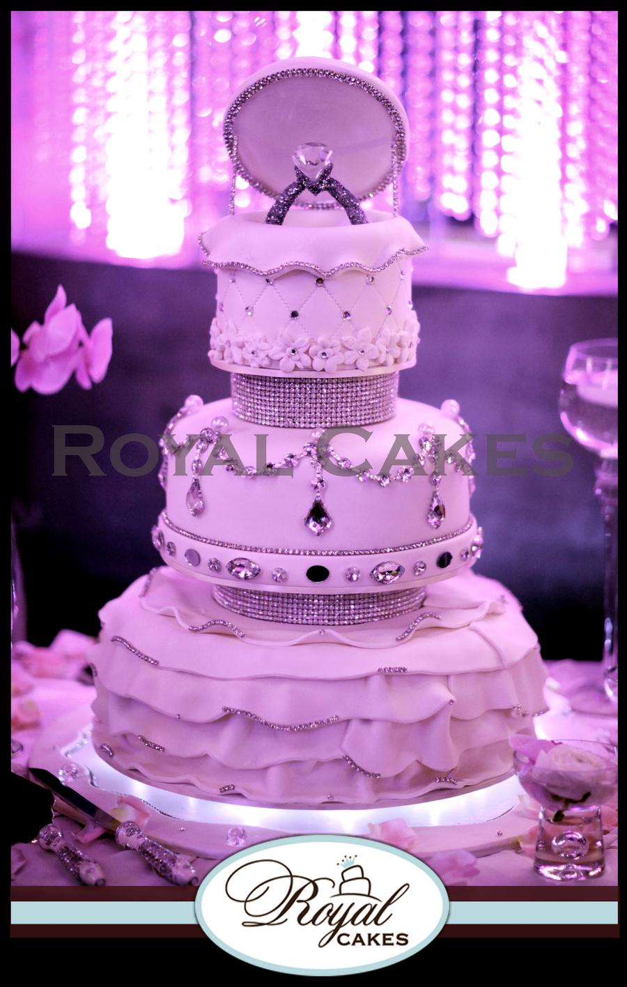 Marry Me The Perfect Engagement Cake Designed In Ruffles Chandelier Crystals And Our Signature Ring Topper Wwwroyalcakeslacom on Cake Central