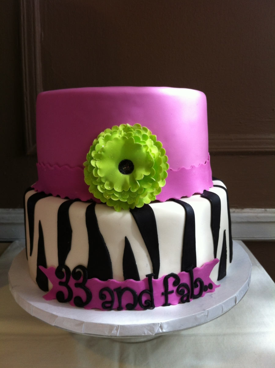 Nelsi's Zebra, Pink And Black Birthday Cake on Cake Central