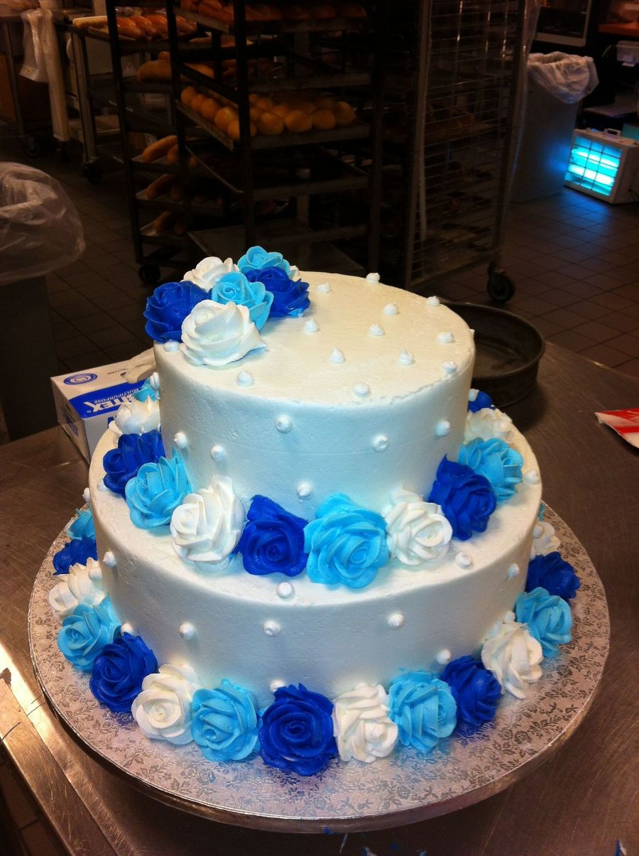 Butter Cream Wedding Cake W Light Blue Royal And White Roses