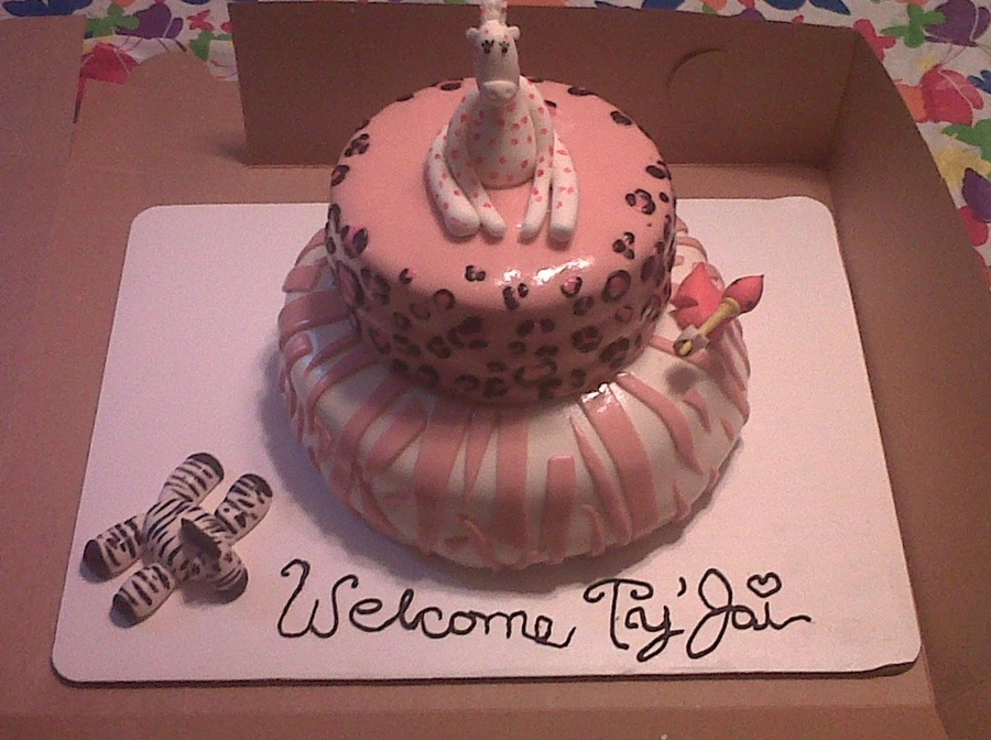 Zebra And Leopard Baby Shower Cake on Cake Central