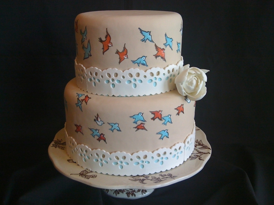 Birds Of My Neighborhood Wedding Cake on Cake Central