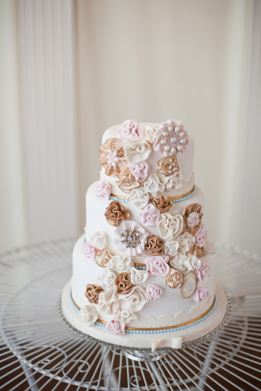 Diy-Ruffles & Brooches Wedding Cake  on Cake Central