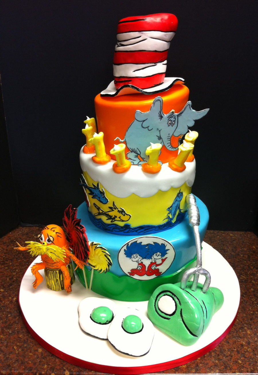 Dr Seuss First Birthday Cake CakeCentralcom