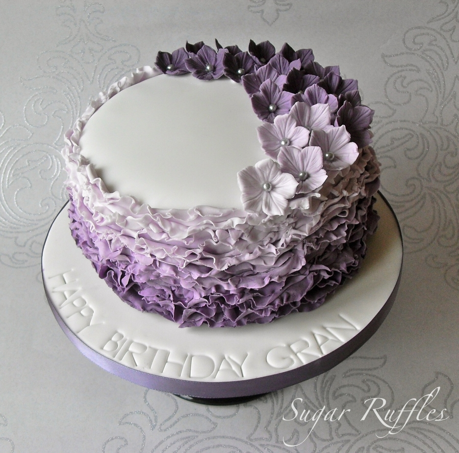 Purple Ombre Ruffle Cake on Cake Central