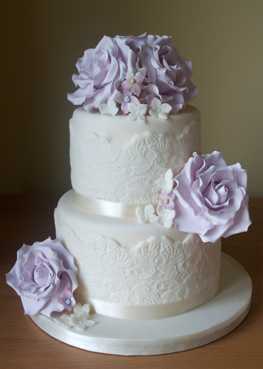 Lilac Roses & Lace  on Cake Central