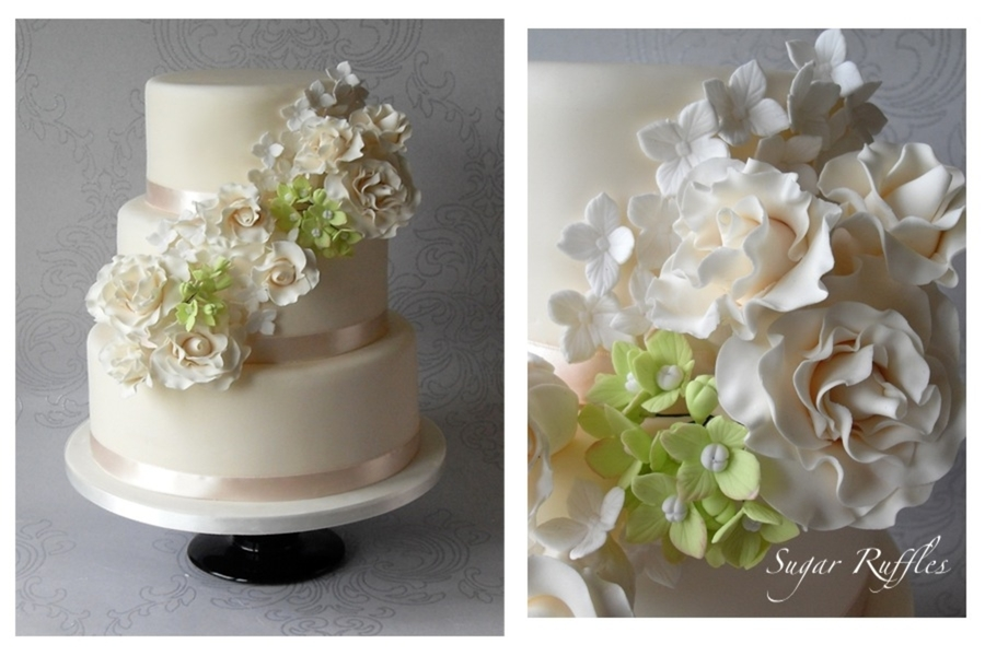Floral Cascade Wedding Cake on Cake Central