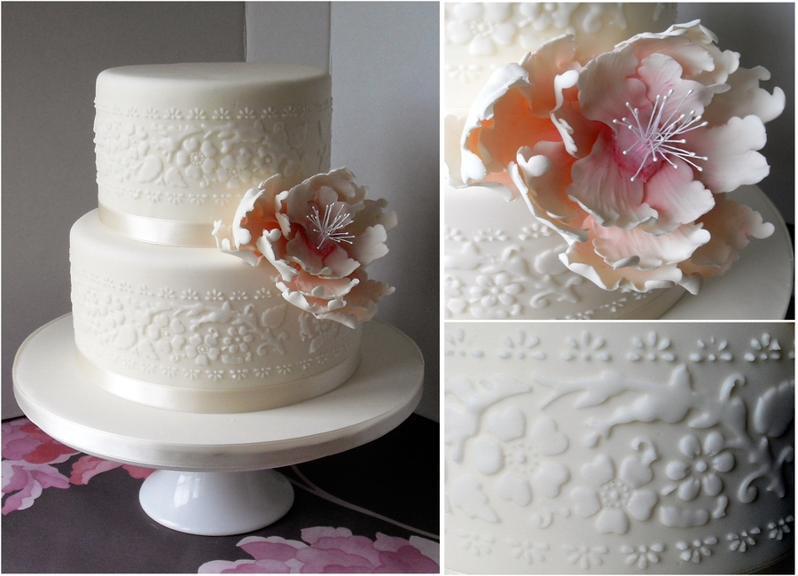 Open Peony Wedding Cake on Cake Central