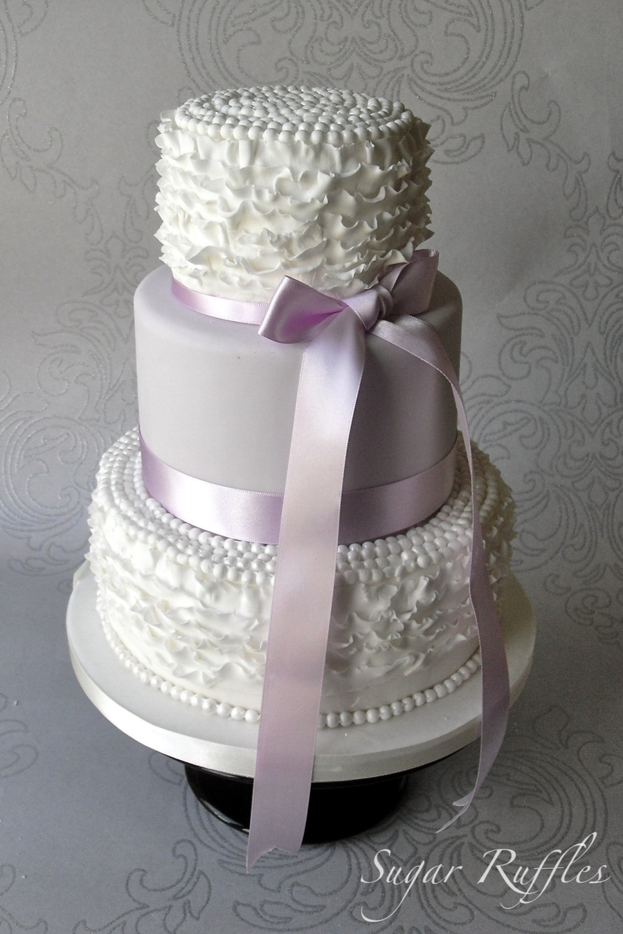 Lilac Ruffle Wedding Cake on Cake Central